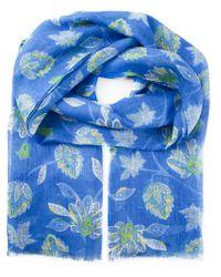 Kiton Blue Flower Print Scarf for men