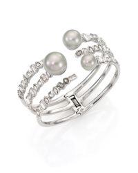 Alexis Bittar | Metallic Miss Havisham Faux Pearl Multi-row Cuff Bracelet | Lyst