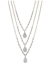 INC International Concepts | Metallic Inc International Concept Gold-tone Crystal Charm And Bead Three-row Necklace | Lyst