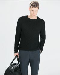 Zara | Black Shiny Sweater for Men | Lyst