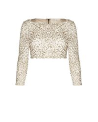 Alice + Olivia - Natural Lacey Embellished Tee - Lyst