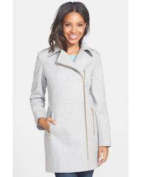 MICHAEL Michael Kors - Gray Asymmetrical Wool Blend Coat - Lyst