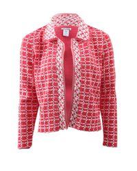 Oscar de la Renta Red Tweed Jacket