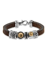 Platadepalo | Brown Classic Bracelet With Silver & Gold | Lyst