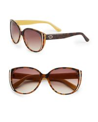 O By Oscar De La Renta | Brown 56mm Round Cat's-eye Sunglasses | Lyst