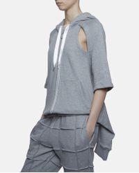 Nicopanda Gray Cut-out Hoodie for men