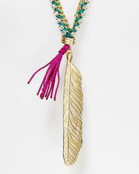 Sam Edelman - Metallic Metal Feather Pendant Necklace 30 - Lyst