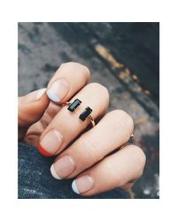 Bing Bang - Black Double Baguette Ring - Lyst