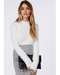 Missguided Deven Knitted Fluffy Long Sleeve Cropped Jumper White