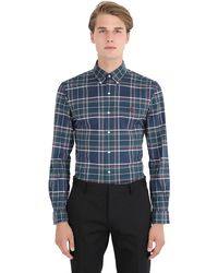 Polo Ralph Lauren Green Slim Fit Plaid Cotton Oxford Shirt for men
