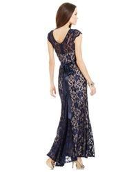 Betsy & Adam - Blue Illusion Lace Belted Mermaid Gown - Lyst