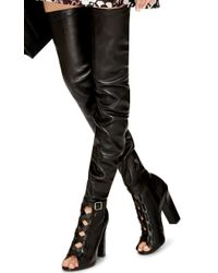 Paul Andrew Black Kidskin Liberty Over The Knee Boots