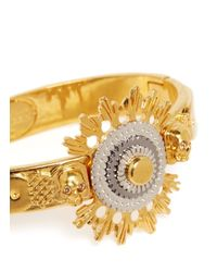 Alexander McQueen - Metallic Skull And Flower Cuff - Lyst