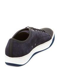 Lanvin - Multicolor Croc-embossed Nubuck Low-top Sneaker for Men - Lyst