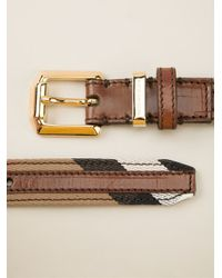 Burberry - Brown Striped Belt - Lyst