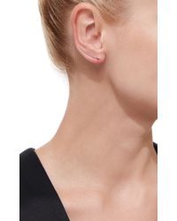 EF Collection - Metallic White Gold Floating Diamond Curved Bar Ear Cuffs - Lyst