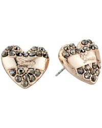 Guess | Gray Heart And Teardrop Duo Stud Set Earrings | Lyst