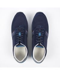 Paul Smith Blue Navy Suede And Fabric 'Moogg' Trainers for men