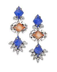 DANNIJO | Blue Dayna Crystal Drop Earrings | Lyst