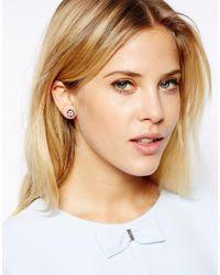 Ted Baker | Tempany Pink Enamel Logo Stud Earring | Lyst