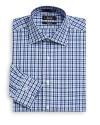 Saks Fifth Avenue Black Label | Blue Slim-fit Checked Cotton Dress Shirt for Men | Lyst