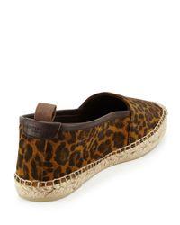 Saint Laurent Brown Leopard-print Suede Espadrille Flat