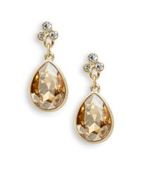 Saks Fifth Avenue | Bezel Teardrop Earrings/brown | Lyst