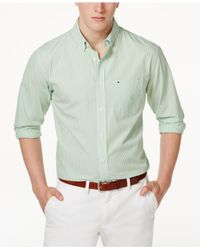 ecf0bf34 Lyst - Tommy Hilfiger Fitzgerald Striped Shirt in Green for Men