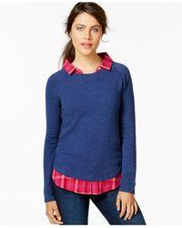 Tommy Hilfiger Blue Layered Sweatshirt Top
