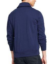 Ralph Lauren Blue Polo Fleece Shawl Cardigan for men