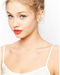 ASOS Metallic Statement Ear Cuff With Embellished Flowers And Chain