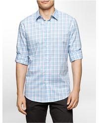 Calvin Klein | Blue White Label Slim Fit Plaid Cotton Shirt for Men | Lyst