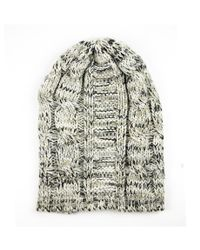 Michael Stars | Gray Cable Knit Acrylic Slouch Hat With Twisted Multi Color Yarn | Lyst
