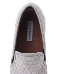 Tabitha Simmons - Gray Huntington Low-Top Quilted Suede Trainers - Lyst