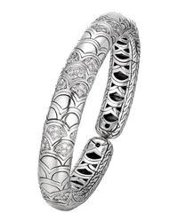 John Hardy - Metallic Naga Silver Slim Flex Cuff With Diamonds - Lyst