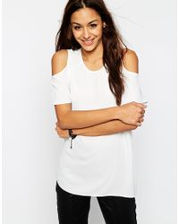 ASOS Natural Cold Shoulder T-Shirt