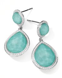 Ippolita Blue Stella 2-stone Drop Earrings In Turquoise Doublet With Diamonds