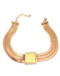 Tuleste | Metallic Rosegold Square Pendant With Gold Inlay | Lyst
