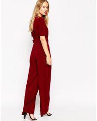 ASOS Red Self Belt Short Sleeve Jumpsuit