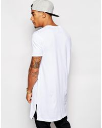 ASOS White Super Longline T-shirt With Side Zip Detail And Oversized Fit for men