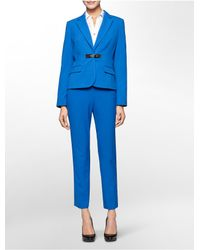 Calvin Klein | Blue Luxe Buckle Closure Suit Jacket | Lyst