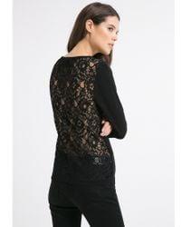 Mango Black Blond Lace Back Sweater