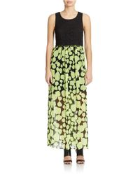 Kensie | Green Big Dot Maxi Dress | Lyst