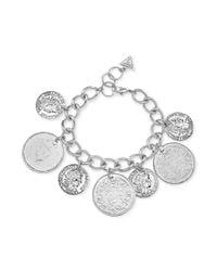 Guess - Metallic Silvertone Chain Coin Bracelet - Lyst