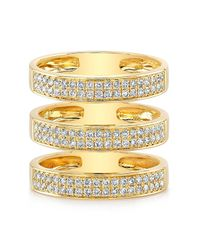 Anne Sisteron | 14kt Yellow Gold Diamond Large Triple Bar Ring | Lyst