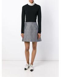 Viktor & Rolf Black Houndstooth Print A-line Skirt