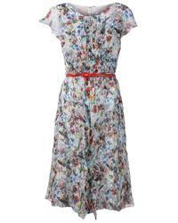Carolina Herrera Multicolor Floral Print Ruffled Dress