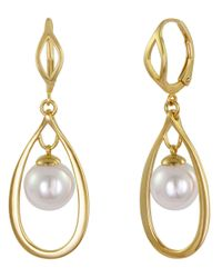Majorica | Metallic 18Kt. Gold Vermeil And Pearl Hoop Pendant Earrings | Lyst