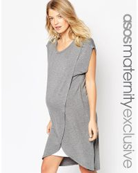 ASOS Gray Nursing Dress With Wrap Overlay