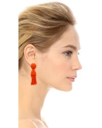 Oscar de la Renta - Red Short Tassel Clip On Earrings - Lyst